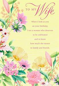 Floral, Border, On, Yellow, Birthday, Card, For, Wife