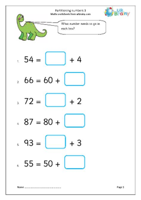 addition by partitioning year 3 worksheets esl concrete