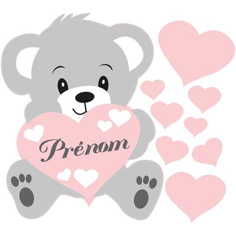 sticker prenom personnalisable ourson rose stickers