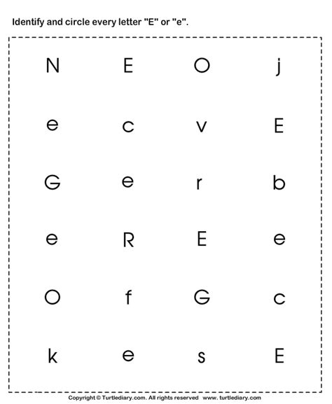identifying lowercase and uppercase letter e worksheet turtle diary