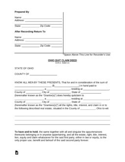 ohio quit claim deed form word  eforms