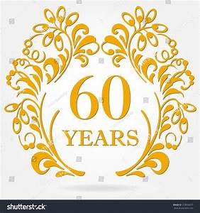 60 years anniversary icon ornate frame stock vector With 60 wedding anniversary symbol