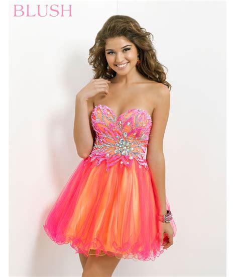 blush  prom dresses hot pink yellow strapless