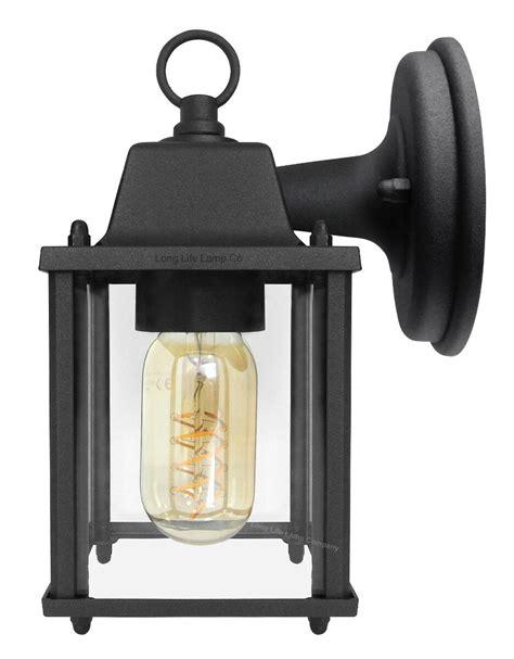 vintage outdoor wall light black metal glass lantern style