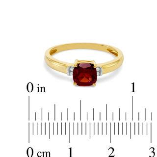 6 0mm cushion cut garnet and accent engagement ring in 10k gold engagement rings