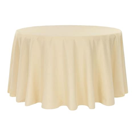 """Economy Polyester Tablecloth 132"""" Round Champagne CV"""
