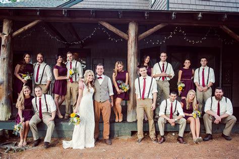 Burgundy Rustic Wedding Party
