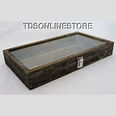 Rustic Wood Glass Top Display Case Antique Coffee Color Ebay