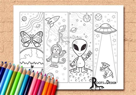 Instant Download Coloring Page Space Theme Color Your Own