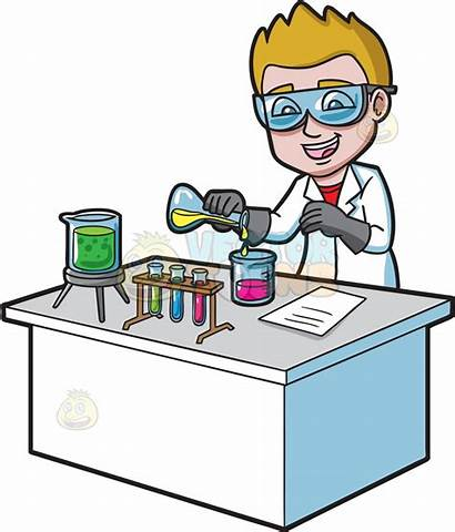 Chemicals Clipart Chemical Reaction Mixing Scientists Cartoon