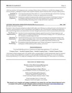 resume for ceo position resume sle for a ceo