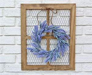 Spring, Wreath, Chicken, Wire, Frame, With, Wreath, Farmhouse, Wall, Decor, Window, Frame, Wreath, By