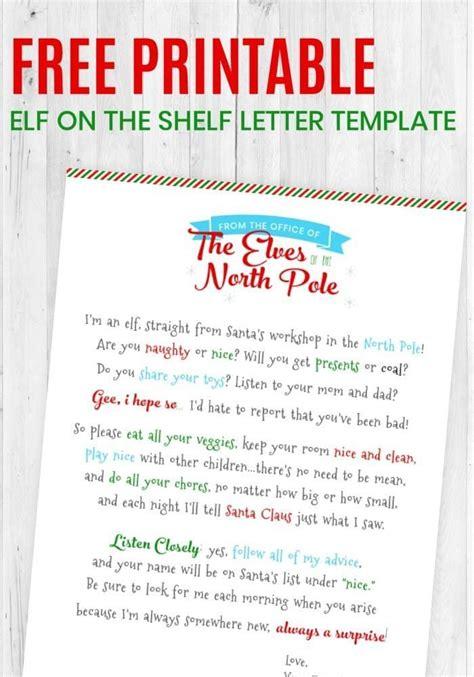 printable elf   shelf letter template elf