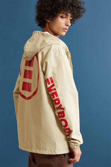 urban outfitters synthetic logic  hooded coach jacket  khaki natural  men lyst