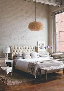Papier Peint Chambre À Coucher : papier peint imitation brique dans la chambre coucher resto d co esprit brick wall bedroom ~ Nature-et-papiers.com Idées de Décoration