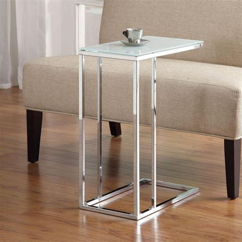 side sofa table accent living room chrome base snack side stand table sofa w frosted glass top ebay