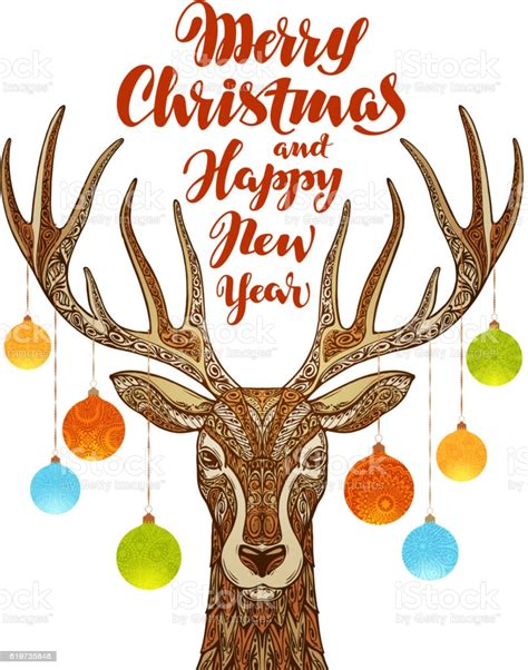 Merry christmas and happy new year. Merry Christmas And Happy New Year Reindeer With Xmas ...