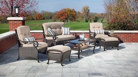 lake como seating wicker patio furniture set khaki