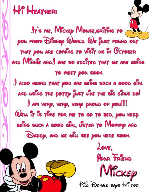 disney surprise letter character letters from disney disney