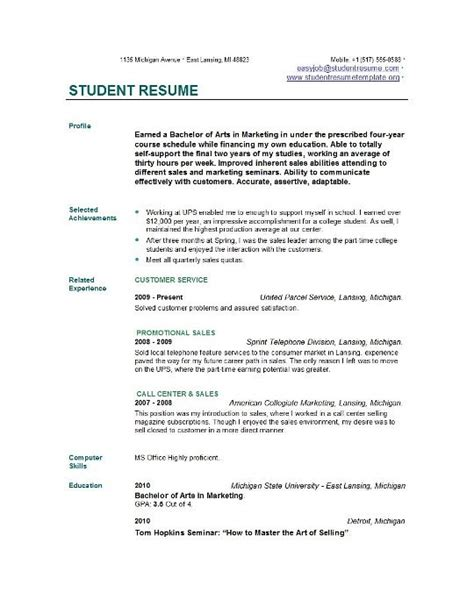 Free Resume Templates For Students by Student Resume Templates Learnhowtoloseweight Net
