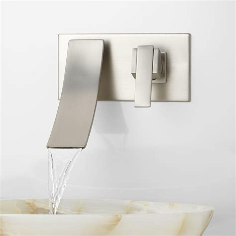 Wall Mount Waterfall Tub Faucet Brushed Nickel