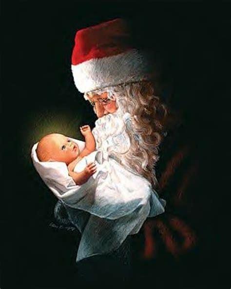 adoring santa st nick with baby jesus christmas pinterest