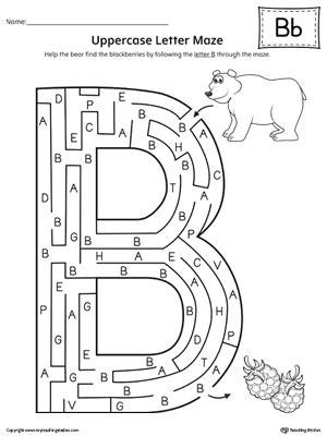 uppercase letter b maze worksheet myteachingstation