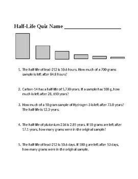 radioactive half life worksheet by scorton creek publishing kevin cox