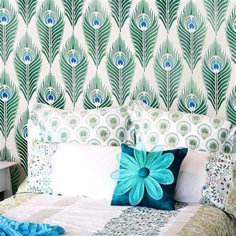 peacock feather allover stencil reusable wall stencils