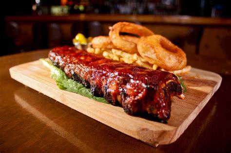 rack  bbq pork ribs stock photo image   meal