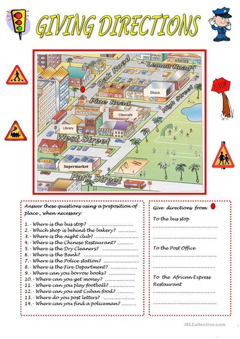 giving directions worksheet  esl printable