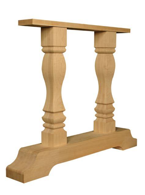 wood pedestal table base kits transitional trestle base