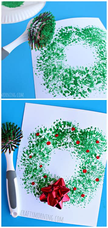 easy christmas food crafts dish brush wreath craft easy craft for to