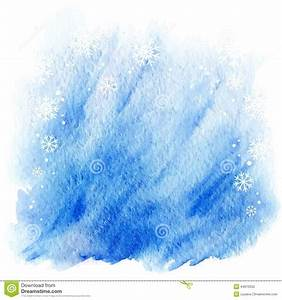 Winter Watercolor Background. Light Blue Sky With Falling ...