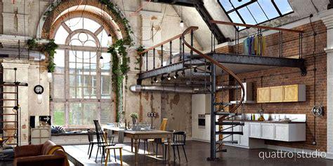 cuisine bois gris loft industriel en 3d par quattro studio
