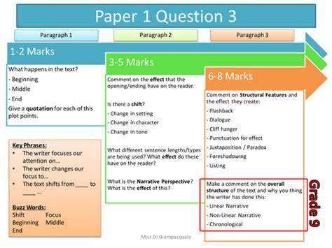 aqa language grade   paper  question  teaching resources