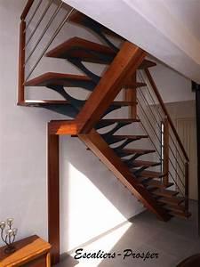 Escalier 1 4 Tournant Droit : escalier 1 4 tournant m tiss limons droit limon m tiss en bois exotique rouge sapelli ~ Dallasstarsshop.com Idées de Décoration