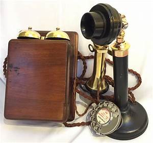 Antique English Gpo  150 Candlestick Telephone And Bell Box