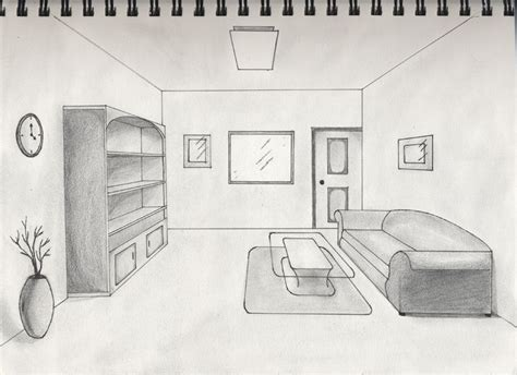 Drawing A Bedroom In One Point Perspective by A One Point Perspective Interior Sketch For Class