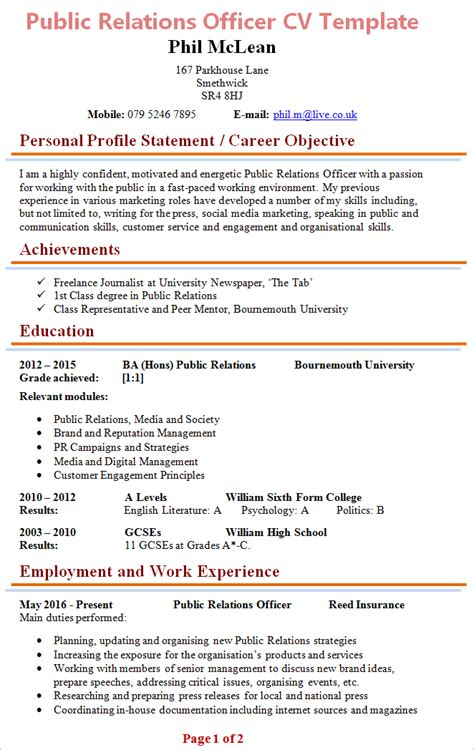 Relations Officer Resume Template by Relations Officer Cv Template 1