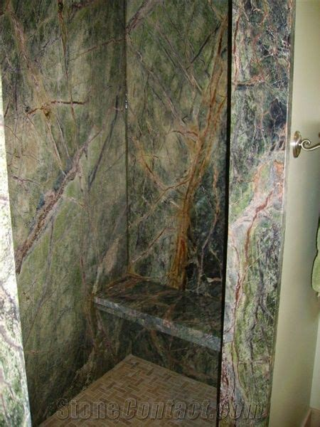 rain forest green marble shower  united states