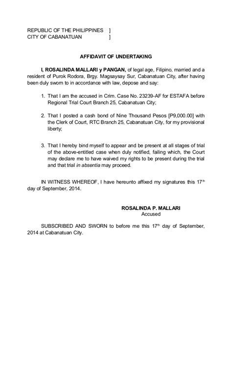 affidavit  undertaking