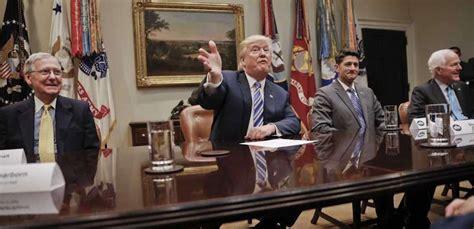 trump president donald meeting congress senate ryan mcconnell exemption obamacare end threatens boom room leadership left leader texas