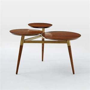 Clover Coffee Table - Walnut/Antique Brass west elm