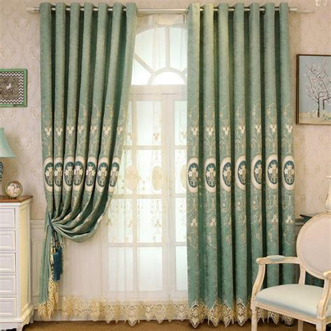 sage green floral chenille blackout embroidery curtains