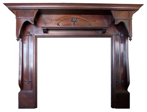 Antique Large Mahogany Art Nouveau Wood Fireplace Mantel