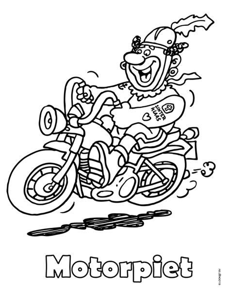 Kleurplaat Zwarte Piet Fiets by Kleurplaat Motor Piet Zwarte Piet Kleurplaten Nl