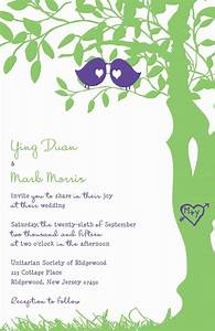 Love bird wedding invitations purple and green tree for Wedding invitations with trees and birds