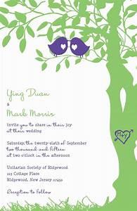 Love bird wedding invitations purple and green tree for Wedding invitations with trees and birds