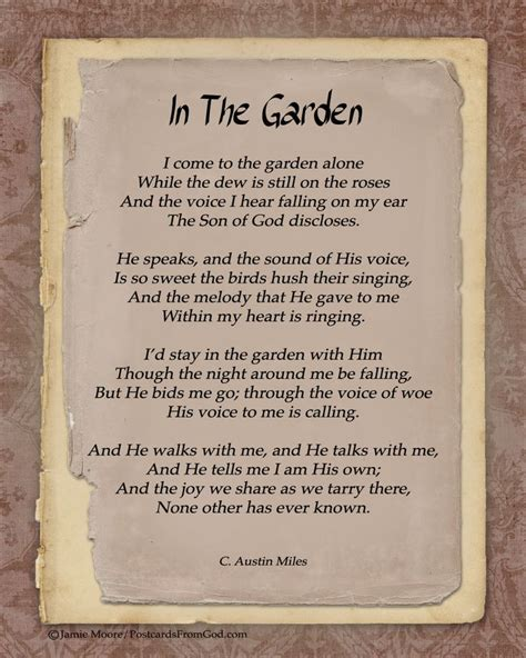 in the garden hymn quot he walks with me and he talks with me and he tells me i